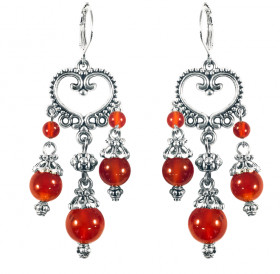 "Earrings ""Princely"" No. 2 with carnelian"