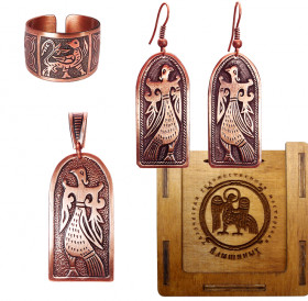 "Jewelry set ""Virgo Bird"" in a gift box."