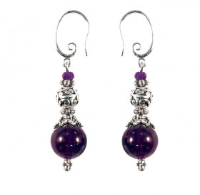 Single earrings №2 with amethysts