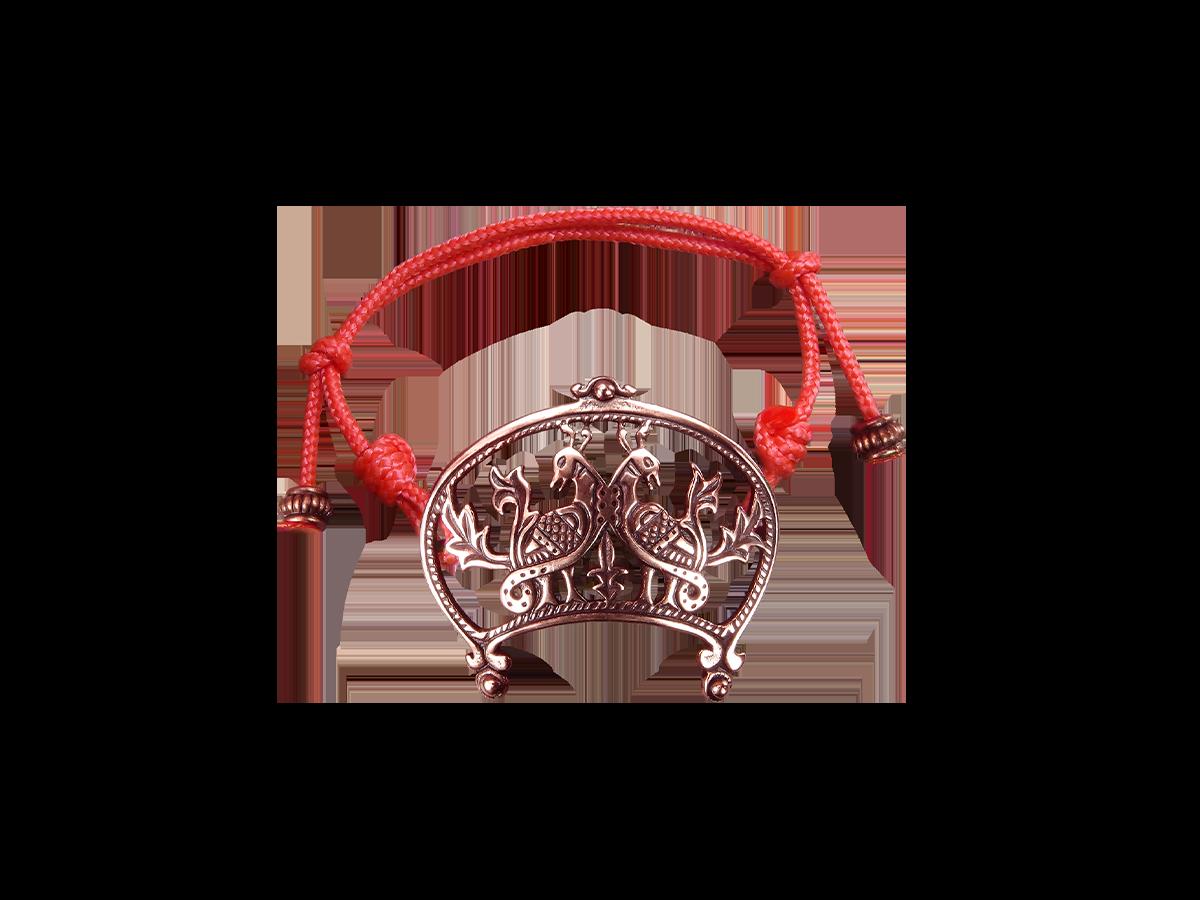 Браслет-шнурок «Широкорогая лунница с парой птиц»