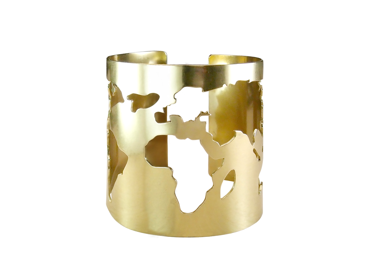 """Bracelet slotted """"Map of the world"""". Width 60 mm"""